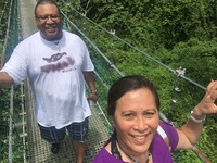 Best of Roatan excursions. Swing bridge at an eco park