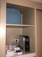 Coffee maker (blue bin is mine)