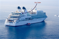 a photo showing the location of the Spa suites aboard quest taken from Boni