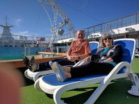 Relaxing in the sunshine on the deck on our way across the Atlantic ocean.