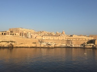 View of Malta  from our cabin balcony as we approach the port