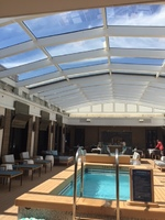 Haven pool area with retractable roof