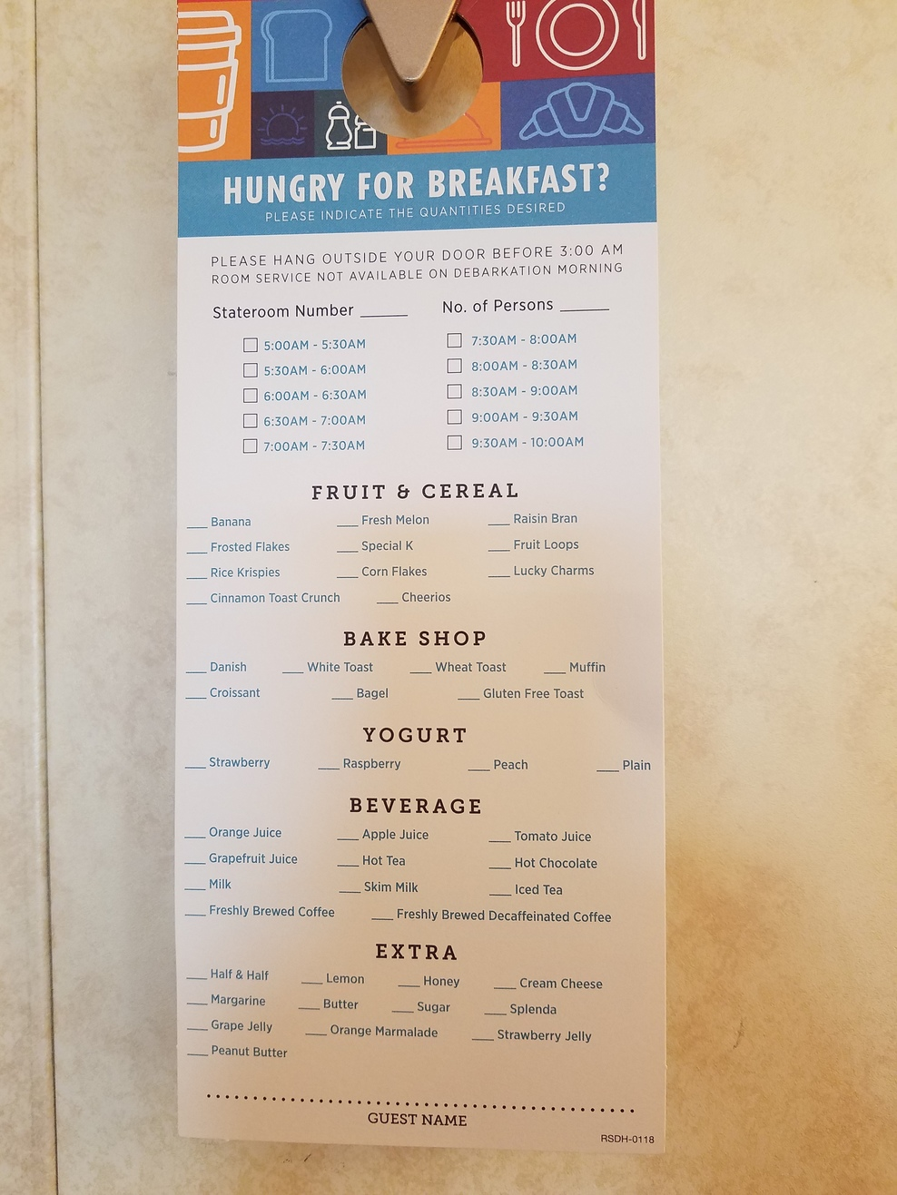 Room service breakfast menu.