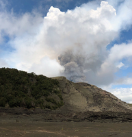 From Kilauea Iki Crater the plume of the Kilauea Caldera on May 4, 2018