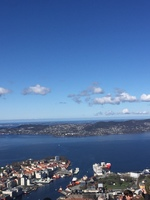 Bergen Norway. View from funicular mountain over the town.