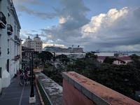 Walking old town San Juan with Equinox in the background