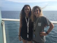 Madalyn on the left and Taylor on the right. We were sailing toward Haiti.