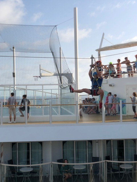 Zip line on the ship