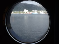 View of arctic cathedral, Tromso, from cabin!