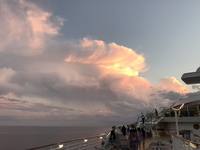 Amazing view of the clouds from the ship at dusk after the sun has set