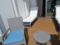 Extended balcony allows for 2 lounges, 2 chairs and a table