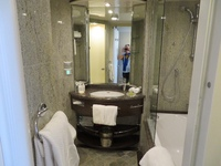 Bathroom is very roomy, includes shower and also a shower/tub combo.  Nice