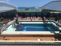 Pool canary partially open as Ship heads out of Bermuda port.