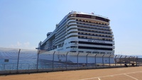 View of ship docked in Corsica.   Our cabin was in the aft section and we e