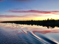 Sunset while sailing lake Onega