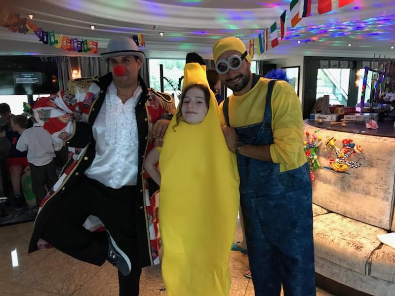 Carnivale party onboard - daughter + 2 cruise directors Michael and Felix