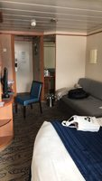 """Spacious Ocean View Balcony"" stateroom. Hard to tell but there was"