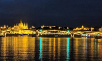 Budapest at night on the water.