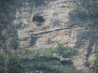 Three Gorges, notice hole in rock, this is where there is a wooden casket.