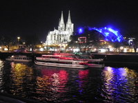 Cologne at night and it's many beautiful colors reflecting on the Rhine