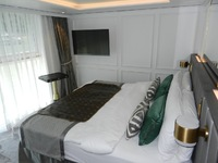 Stateroom bed and panoramic window