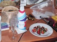 Champagne and strawberries courtesy of Casino Royale