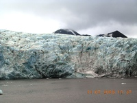 GLACIER ON THE WAY FROM LONGYEARBYEN (SPITSBERGEN) TO BARENTSBURG (SPITSBER