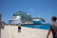 At the port in Cozumel.  The Empress is the smaller ship.  I think the othe