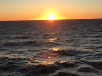 Late sunset in the North Sea.