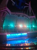 Aquatheater at night where they have the high diving/synchronized swimming