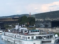 "Crystal Mozart, ""the Giant"" of Danube river cruising, docked at Linz on"