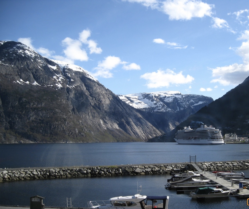 The Viking Sky docked in Eidfjord, Norway