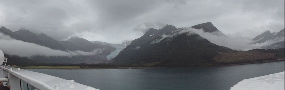 Cruise down Holandsfjord to Svartisen Glacier on a very cloudy day.