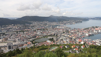 Bergen city and harbor from atop Mt. Floyen.