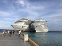 Carnival Vista and Carnival Conquest docked at Grand Turk