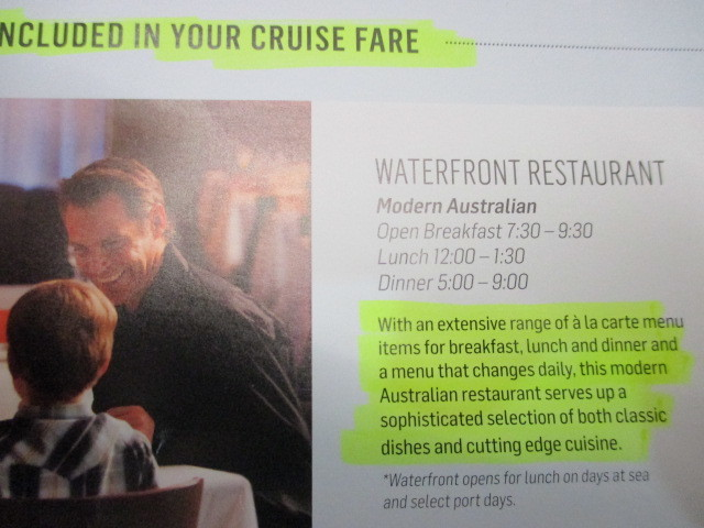 Supposedly shows what is included in your cruise fare foodwise.