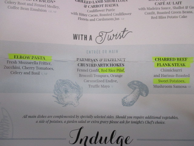 """Section of dinner menu showing """"cutting edge cuisine""""."""