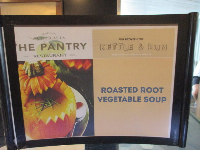 Kiosk menu from The Pantry on the P&O ship Pacific Jewel.