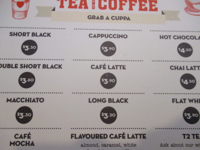 Menu of tea/coffee if you want a decent cuppa.