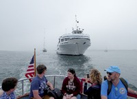 Taking the launch from Blount's Grande Caribe anchored in Nantucket's h