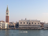 Sailing into Venice past St Marks Square and the Doge's palace