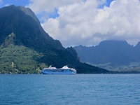 A beautiful cruise ship in the bay in Moorea. Wow!