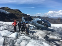 The heli-hiking group with our guide Gaddi and pilot Gisli