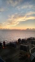 Mornings as the sun is coming up on Carnival Liberty,