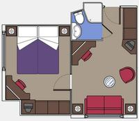 Cabin 9003 layout. This cabin is like a suite with a separate bedroom, but