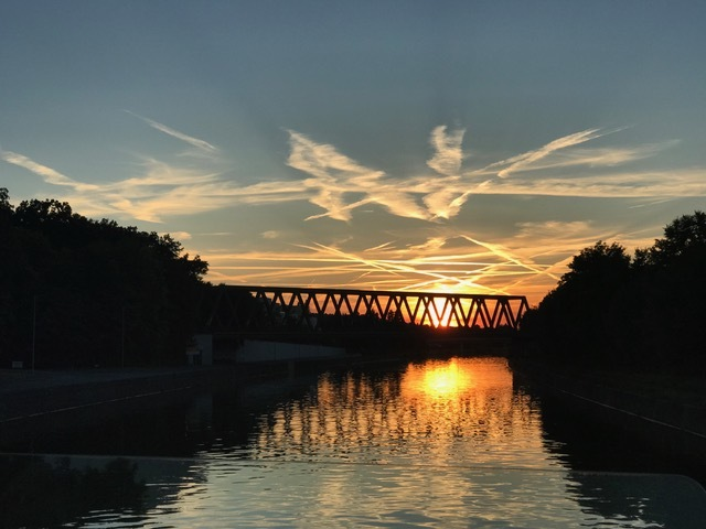 Sunset along the Main-Danube Canal