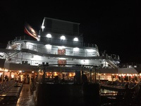 Back of ship at night.