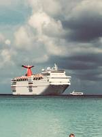 Carnival Elation anchored offshore Half Moon Cay