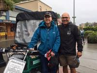 Alaska Pedicab-Juneau, owner James and my husband. It was a cold wet day in