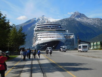 Nieuw Amsterdam tied up in Port of Skagway